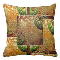 Vintage Mexican Desert Cactus Pattern Throw Pillow