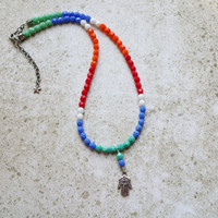 Hamsa Necklace Evil Eye Protection, Beaded Rainbow Jewelry, Boho Style Multi Color Adjustable Necklace, Hamsa Hand Hippie Gifts