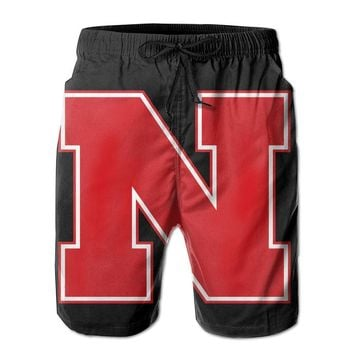Nebraska Cornhuskers Basketball Logo Mens Fashion Casual Beach Shorts