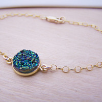 Gren Druzy Dainty 14k Gold Filled Chain Stacking Bracelet - Bridesmaid Bracelet - Druzy Jewelry - Green Bracelet - Druzy Bracelet