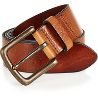 River Island MensBrown leather wide belt