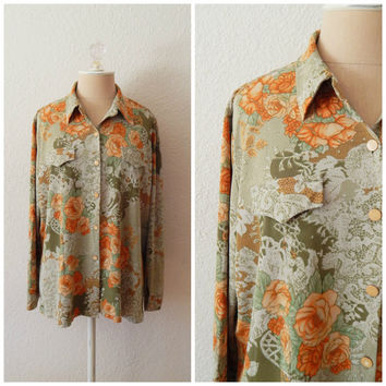Vintage 70s Orange Green Floral Print Button Down Womens Spring Blouse Large