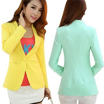 Spring Jacket Small Suit Coat Blaser Femenino Candy-Color Blazer Jacket Slim Women Blazers And Jackets Full Sleeve Outwear C2295