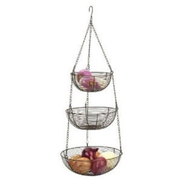 3 Tier Hanging Baskets Bronze Woven Wire