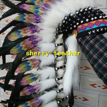28inch blac Indian Feather headdress handmade American costume chief war bonnet Halloween feather costume party supply
