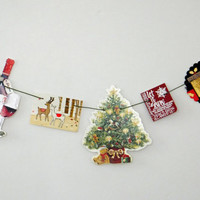 Christmas Bunting - OOAK Christmas garland - paper bunting - recycled banner