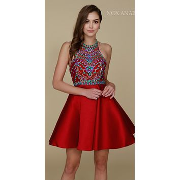Burgundy Short Homecoming Dress with Halter Beaded Top