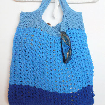 Crochet Reusable Tote Bag in Blueberry, Shopping Bag, Beach Tote,  ready to ship.