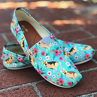 German Shepherd Flower Casual Shoes
