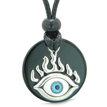 Cool Evil Eye Protection Flames Amulet Black Agate Medallion Magic Powers Adjustable Necklace