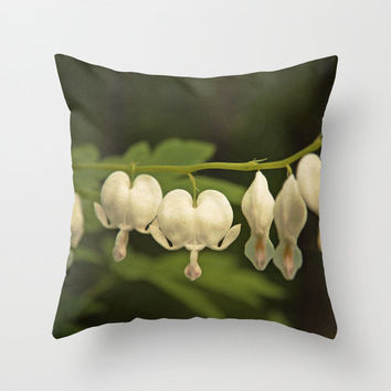 White Bleeding Hearts - Dicentra - Hunter Green - Throw Pillow Cover