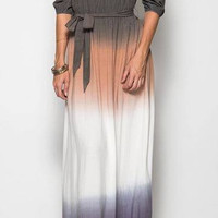 JUST THE WAY YOU ARE OMBRE MAXI DRESS - OLIVE & CAMEL