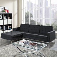 Loft Left-Arm Wool Sectional Sofa in Dark Gray