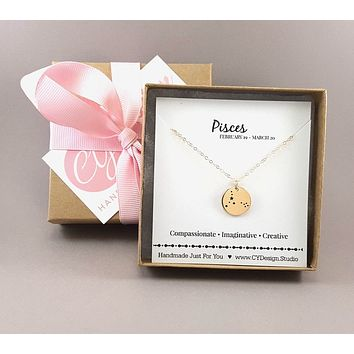 Pisces Zodiac Necklace - Constellation Necklace - 14k Gold Fill Necklace - Simple Jewelry - Astrology Necklace - Gold Jewelry - Gift for Her