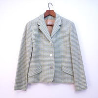 Vintage Houndstooth Wool Blazer by Russ Green Blue White Jacket Boxy Wool Jacket vintage size 14 S to M