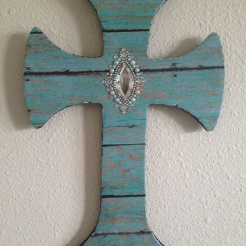 Handmade Turquoise Barn Wood Print Beautiful Rhinestone Cross Wall Decor