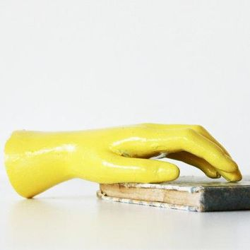 Need A Hand   Vintage Mannequin Hand   Yellow   Neon   Pastel   Summer   Home Decor   Humor