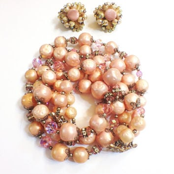Vintage Hobe Pink  Beaded Three Strand Necklace with Married Earrings, Silvertone Clasp, 1950s 1960s, Bridal