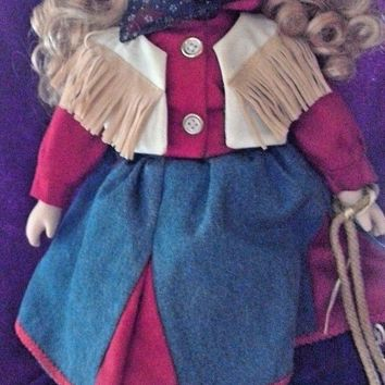 Porcelain Collectors Country Western Blonde Cowgirl Bisque Doll