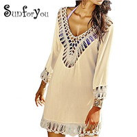 Crochet Beach Cover up Beach cape Saida de Praia Bathing suit cover ups Beach Wear Swimsuit Cover up Pareo Cover-up dress