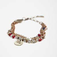 Free People Womens Engraved Disc Layered Bracelet - Rose One