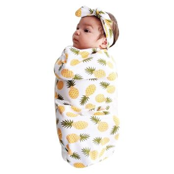 Baby Girl Fruit Swaddle Blanket & Headband Set
