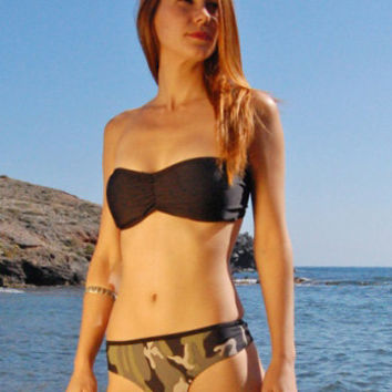 Brazilian Thong Bikini Bottom TARIFA in Camo and Black Reversible, by MAKANI DREAM Swimwear