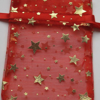 Set of 10 Red with Solid Gold Stars Printed Organza Bags (3-1/2 x 5)