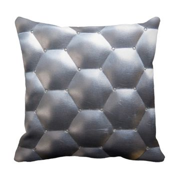 Hexagon 3D Effect - Metal Pattern Texture Throw Pillow