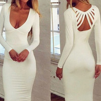 White Strappy Cut-Out Back Deep V-Neck Long Sleeve Bodycon Midi Dress
