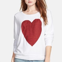 Women's Wildfox 'Sparkle Heart' Sweatshirt