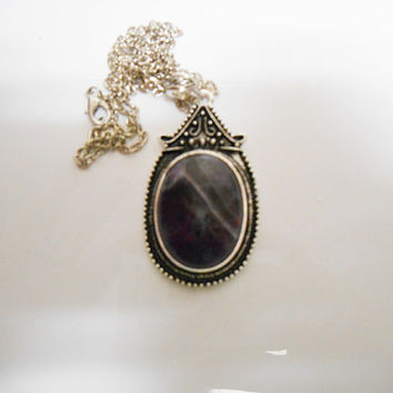 Once Upon A time Fairytale Wicked Queen Dark Purple Stone Necklace
