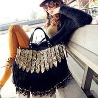 Shopinthebox Lady Punk Tassel leopard print Fringed Handbag Tote Shoulder Purse Bag Black
