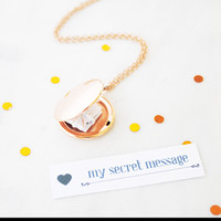 Personalised message locket in rose gold
