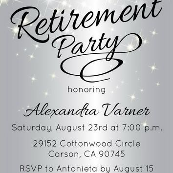 Silver Sparkly Retirement Invitations