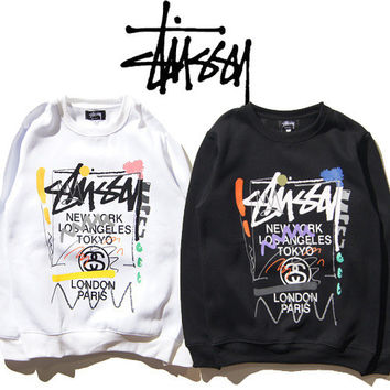 Stussy Print Sports Round-neck Pullover Men's Fashion Jacket [9370035975]