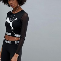 Puma Exclusive To Asos Active Long Sleeve Mesh Top In Black at asos.com