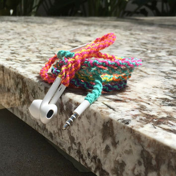 Tangle Free Earbuds - Wrapped Headphones - Your Choice of Headphones - Flower Power Remix