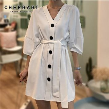 Cheerart V Neck Button Dress Color Block Lace Up Stitch Short Sleeve Dress Women Summer Casual Ladies Korean Dress Clothes