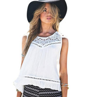 Blusas mujer  Sexy Womens  Style Lace Chiffon Blouses Sleeveless O Neck White Womens Shirts camisetas mujer #82 GS