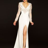 Sheer Sleeved Mac Duggal White Pageant Gown 42655P