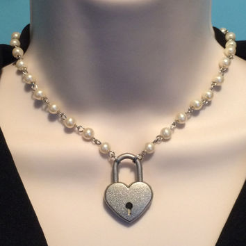 Creamy Ivory Glass Bead Linked Chain submissive Day collar with Working Heart Padlock varying length & lock colors