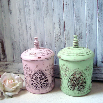 Shabby Chic Mint Wooden Storage Container, Ornate Green Trinket Box, Wedding Decor, Kitchen Storage Container, Jewelry Holder, Nursery Decor