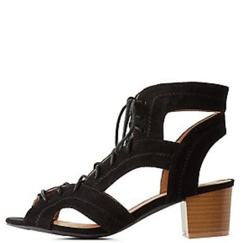 QUPID CUT-OUT LACE-UP SANDALS