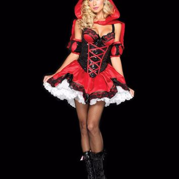 MOONIGHT Little Red Riding Hood Costume Feminina Gothic Lace Dress Halloween Costumes for Women Party Cosplay Dress
