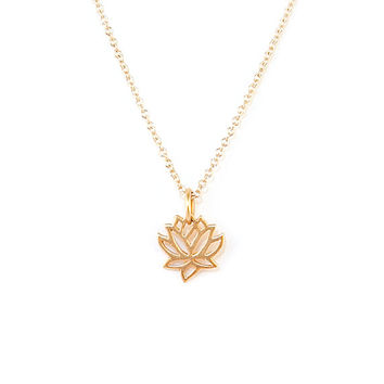 9aaa0c442fee65 Shop Gold Lotus Flower Pendant on Wanelo