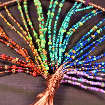 Tree of Life Wall Art - 7 Chakras Rainbow Colors Copper Wire Beaded Wall Hanging