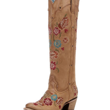 Corral Women's Honey Multicolor Floral Embroidery Boot - C2672