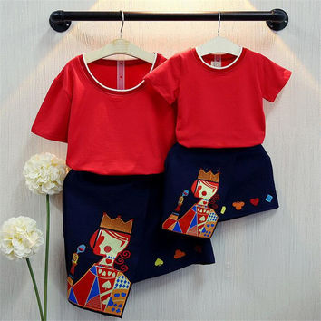 New Family Matching Outfits Summer Style Family look Mother And Daughter Clothes 2 pieces Family Clothing Sets Character Pattern