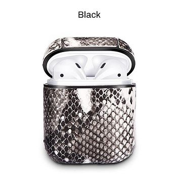 Snake Skin Look Earphone BLACK Case For Airpods Bluetooth Earphone Protective Cover for Apple Airpods Headset Accessories FREE SHIPPING